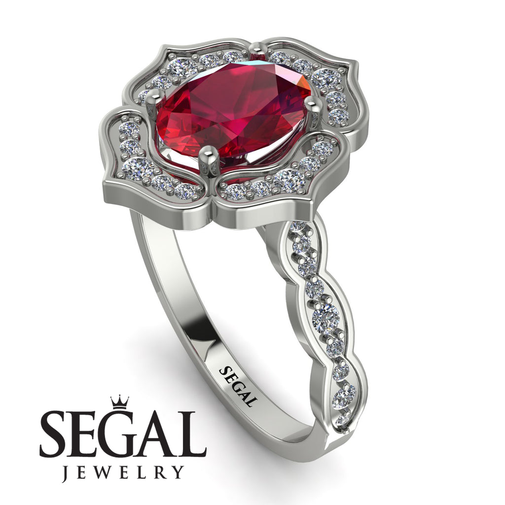 Decorated Halo Oval Ruby Engagement Ring - Faith No. 12