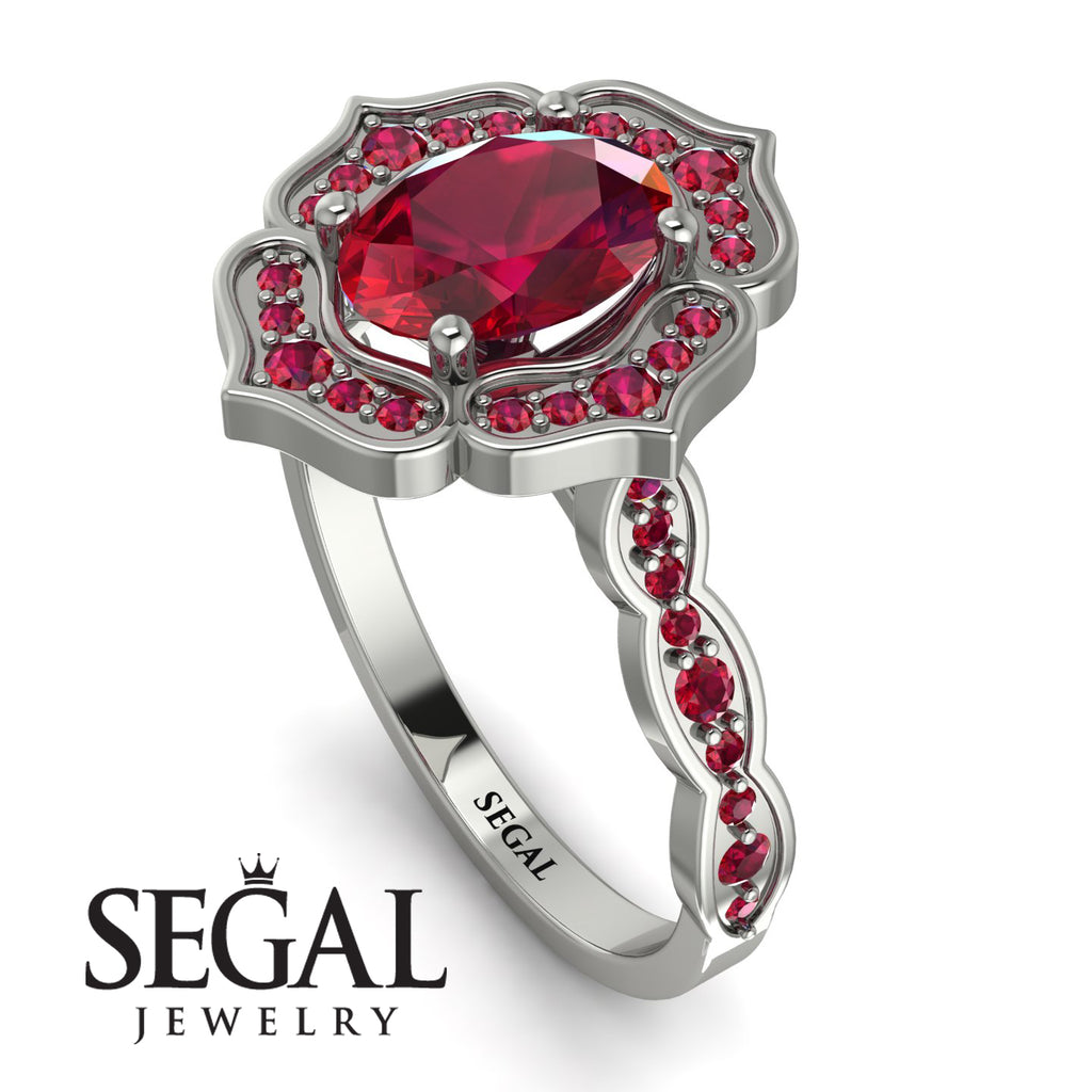 Decorated Halo Oval Ruby Engagement Ring - Faith No. 57