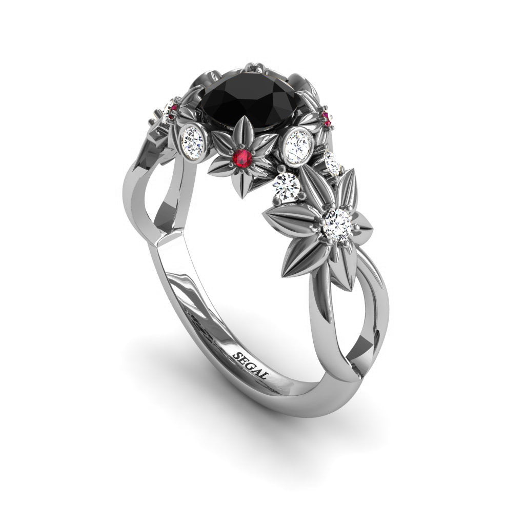 Classic Diamond Flower Engagement Ring Sterling Silver Flower Ring Flower Petal Art Nouveau Wedding Ring For Women Floral Wedding Jewelry