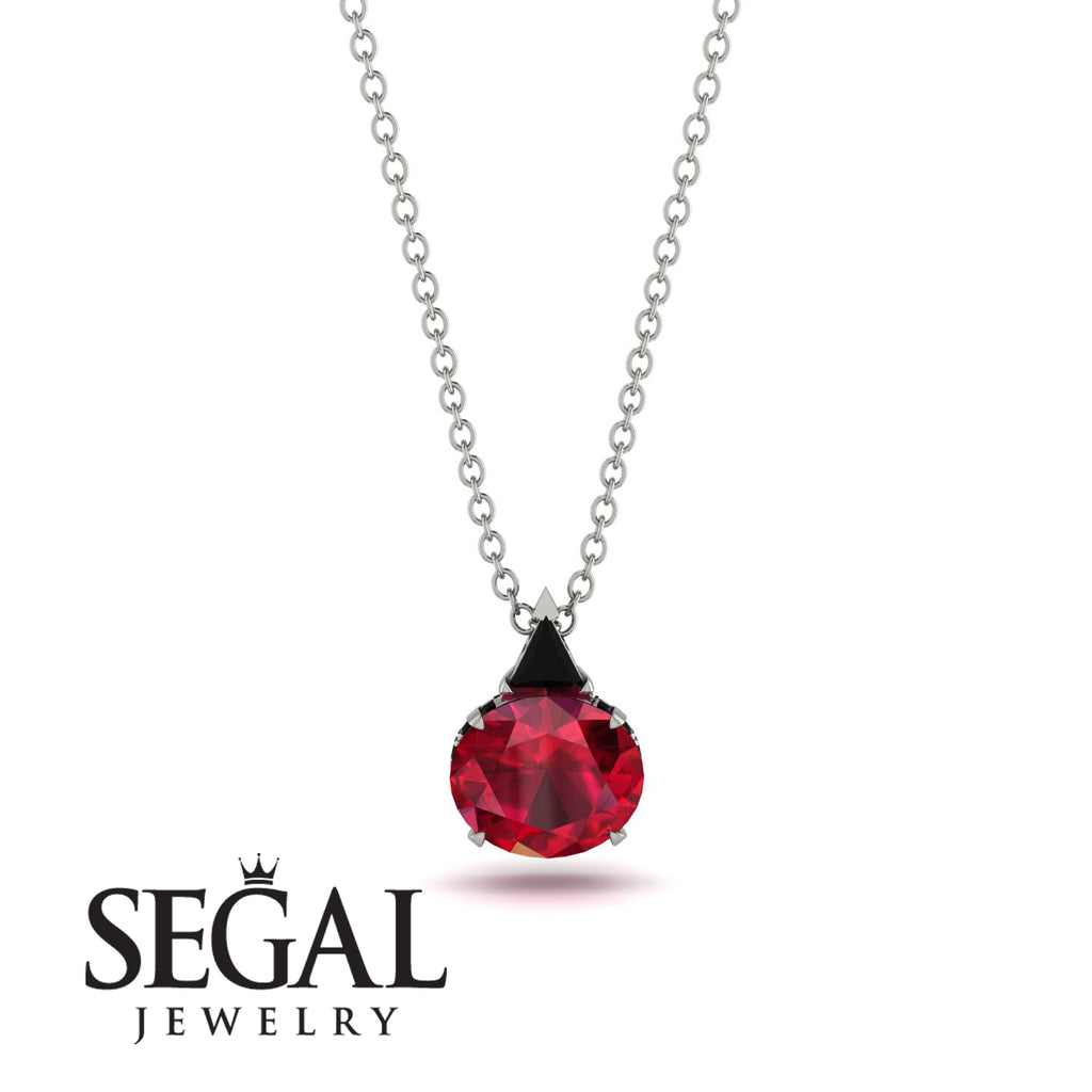 Hidden Halo Ruby Necklace - Rosalie No. 54