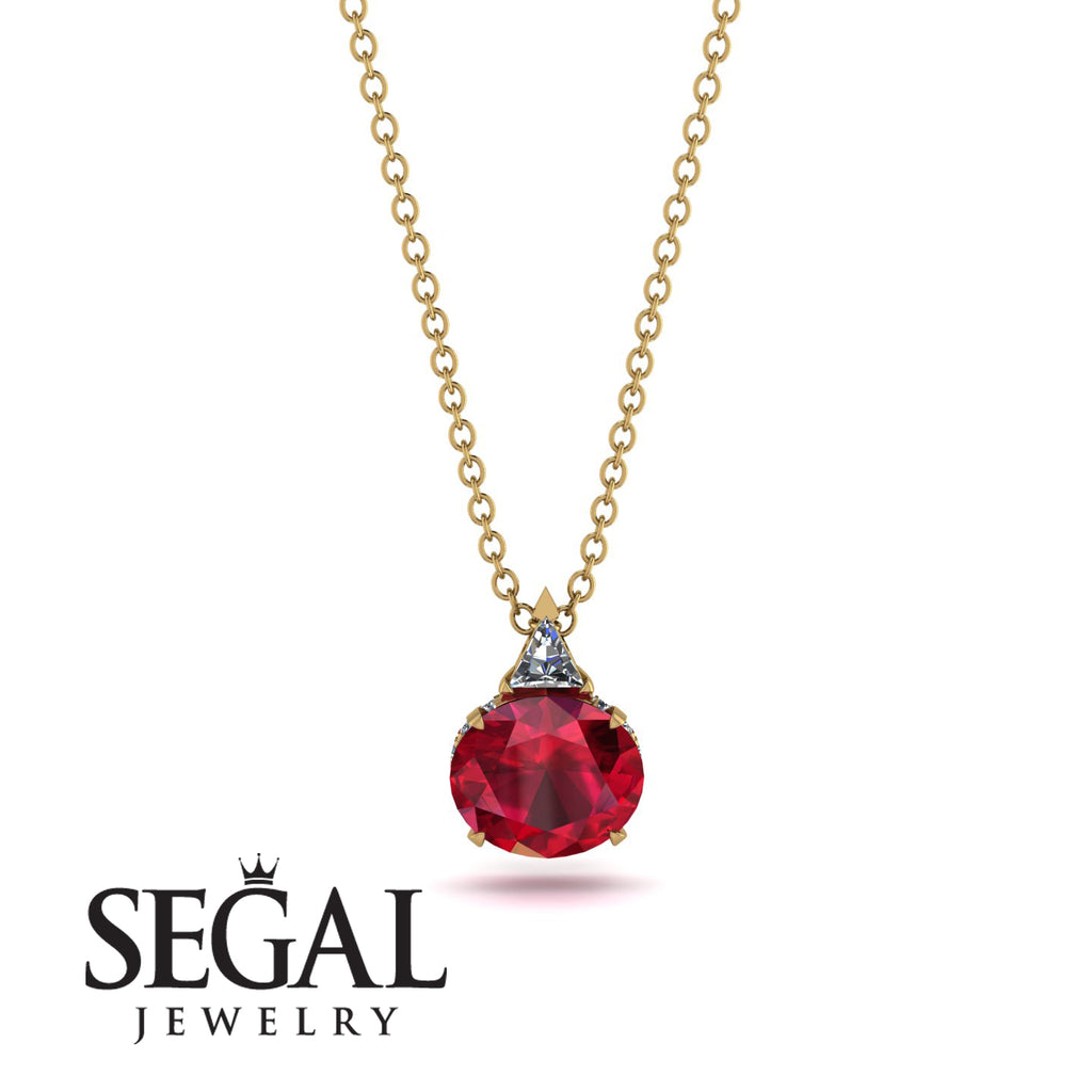Hidden Halo Ruby Necklace - Rosalie No. 46