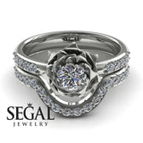 A lady's Rose Bridal Set Diamond Ring - Elena no. 3