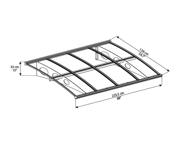 Palram Amsterdam™ 2230 Door Awning 55x88 Grey Frame Clear Panels ISO View