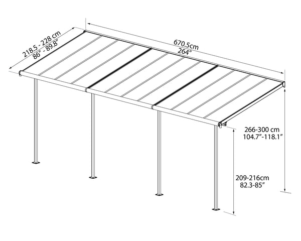 Palram_PatioCover_Sierra_2.3x6.96_Drawing_ISOview