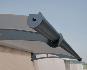 "Palram Aquila 2050 Door Awning 36"" x 81"" Solar Grey Panels - Awnings-Canada"