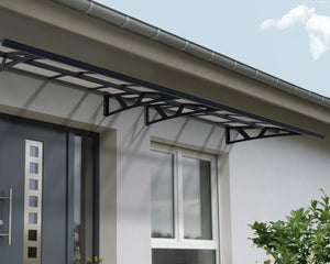 "Palram Amsterdam™ 4460 Door Awning 55"" x 176"" Grey Frame Clear Panels - Awnings-Canada"