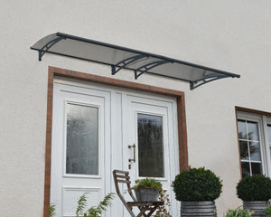 "Palram Aquila 3000 Door Awning 36"" x 118"" Solar Grey Panels - Awnings-Canada"