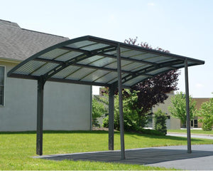 Palram Arizona™ Wave 5000 Carport Grey Frame Bronze Corrugated - Awnings-Canada