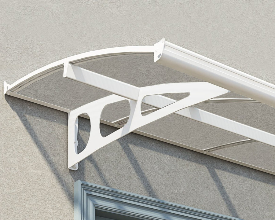 "Palram Bordeaux™ 6690 Door Awning 55"" x 264"" White Frame Clear Panels - Awnings-Canada"