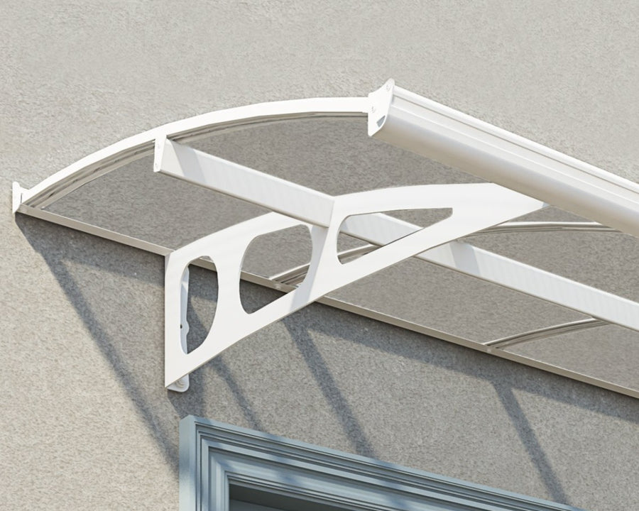 "Palram Bordeaux™ 4460 Door Awning 55"" x 176"" White Frame Clear Panels - Awnings-Canada"