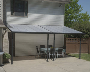 Palram Feria™ Patio Cover 9.7 ft. x 20 ft. Grey Frame Clear Panels - Awnings-Canada