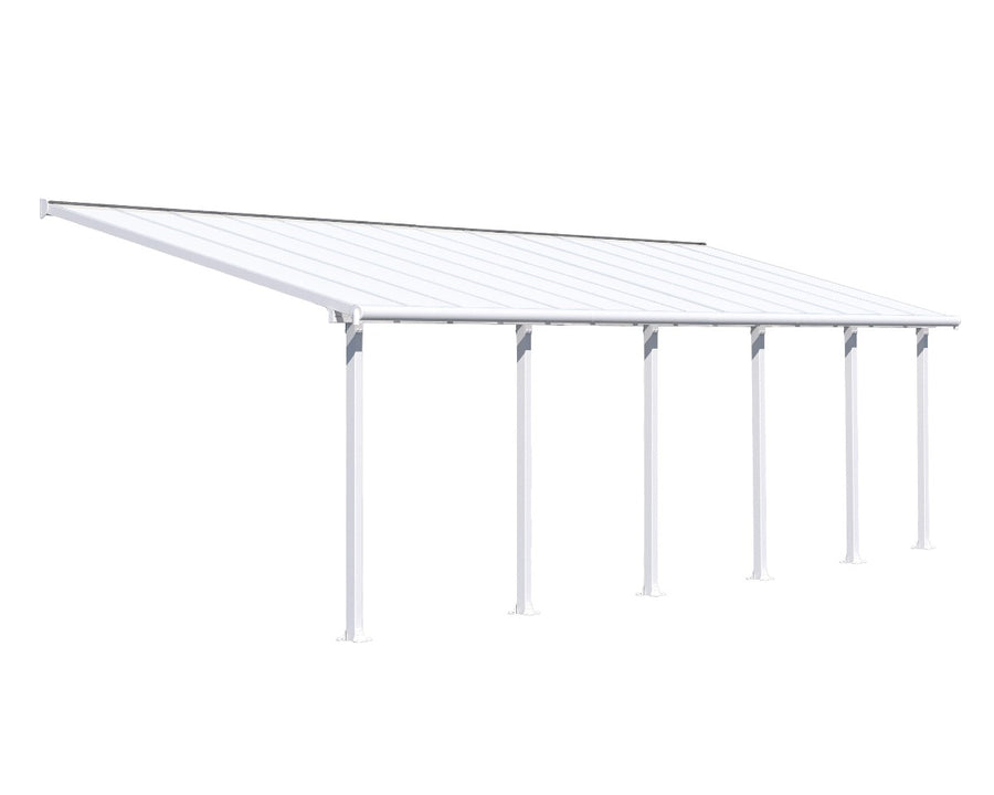 Palram Olympia™ Patio Cover ~10 ft. x 28 ft. White Frame White Panels - Awnings-Canada