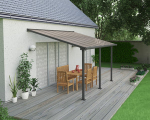 Palram Olympia™ Patio Cover ~10 ft. x 14 ft. Grey Frame Bronze Panels - Awnings-Canada