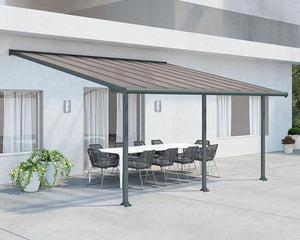Palram Olympia™ Patio Cover ~10 ft. x 20 ft. Grey Frame Bronze Panels - Awnings-Canada