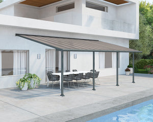 Palram Olympia™ Patio Cover ~10 ft. x 24 ft. Grey Frame Bronze Panels - Awnings-Canada