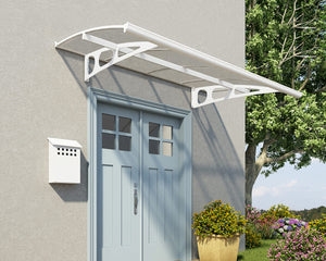 "Palram Bordeaux™ 2230 Door Awning 55"" x 88"" White Frame Clear Panels - Awnings-Canada"