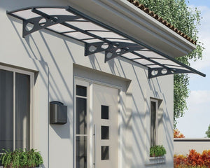 "Palram Herald™ 4460 Door Awning 55"" x 176"" Gray Frame Clear Panels - Awnings-Canada"