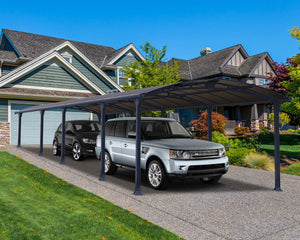 Palram Arcadia™ 10600 Carport Grey Frame Bronze Panels 11.9 ft. x 35.2 ft. - Awnings-Canada