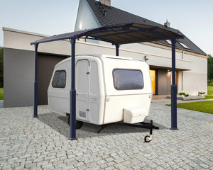 Palram Arcadia™ 4300 Alpine (Tall) Carport Grey Frame Bronze Panels 11.9 ft x 14.1 ft - Awnings-Canada