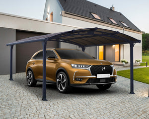 Palram Arcadia™ 4300 Carport Grey Frame Bronze Panels 11.9 ft x 14.1 ft