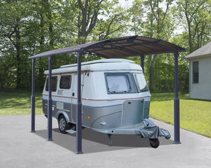 Palram Arcadia™ 5000 Alpine (Tall) Carport Grey Frame Bronze Panels 11.9 ft. x 16.5 ft. - Awnings-Canada