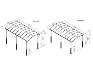 Palram Arcadia™ Carport Alpine (Elevation) Kit, 4 Posts Minimum Required - Awnings-Canada
