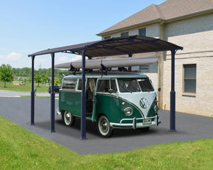 Palram Arcadia™ 6400 Alpine (Tall) Carport Grey Frame Bronze Panels 11.9 ft. x 21.2 ft. - Awnings-Canada
