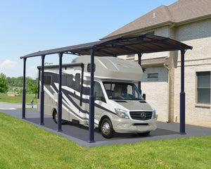 Palram Arcadia™ 8500 Alpine (Tall) Carport Grey Frame Bronze Panels 11.9 ft. x 28.2 ft. - Awnings-Canada