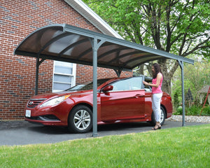 Palram Vitoria™ 5000 Carport Grey Frame Bronze Panels 9.6 ft. x 16.5 ft. - Awnings-Canada