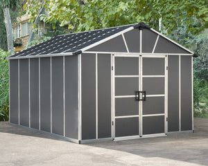 Palram Yukon™ ~11 ft. × 13 ft. Skylight™ Storage Shed in Grey - Awnings-Canada