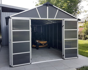 Palram Yukon™ 11 ft. × 17 ft. Skylight™ Storage Shed in Grey - Awnings-Canada