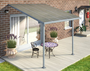 Palram Feria™ Patio Cover 9.7 ft. x 10 ft. Grey Frame Clear Panels - Awnings-Canada