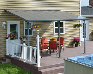 Palram Feria™ Patio Cover ~10 ft. x 14 ft. Grey Frame Clear Panels - Awnings-Canada