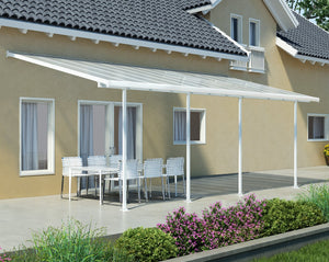 Palram Feria™ Patio Cover 9.7 ft. x 28 ft. White Frame Clear Panels - Awnings-Canada