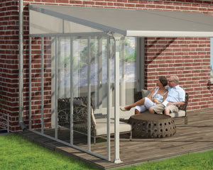 Palram Patio Cover SideWall 10 ft. White Frame Clear Panels - Awnings-Canada