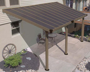 Palram Gala™ Patio Cover 10 ft. x 18 ft. Taupe Frame Bronze Panels - Awnings-Canada