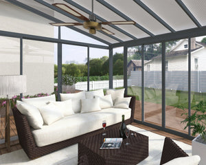 Palram SanRemo™ ~10 ft. x 18 ft. Solarium Patio Enclosure Grey Frame Clear Glazing - Awnings-Canada