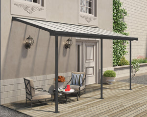 Palram Sierra™ Patio Cover 7.5 ft. x 15 ft. Grey Frame Clear Panels - Awnings-Canada