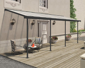 Palram Sierra™ Patio Cover 7.5 ft. x 22.5 ft. Grey Frame Clear Panels - Awnings-Canada