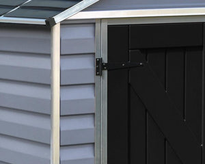 Palram Skylight™ 6 ft. x 5 ft. Storage Shed Grey Walls Black Doors - Awnings-Canada