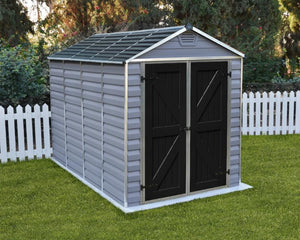 Palram Skylight™ 6 ft. x 10 ft. Storage Shed Grey Walls Black Doors - Awnings-Canada