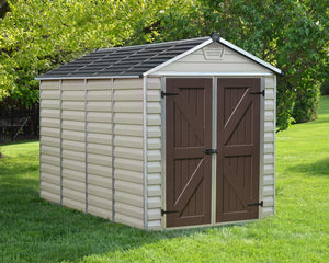 Palram Skylight™ 6x10  Storage Shed Beige Walls Brown Doors - Awnings Canada
