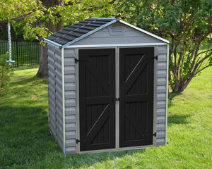 Palram Skylight™ 6x5  Storage Shed Grey Walls Black Doors - Awnings Canada