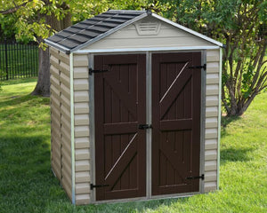 Palram Skylight™ 6 ft. x 5 ft. Storage Shed Beige Walls Brown Doors - Awnings-Canada