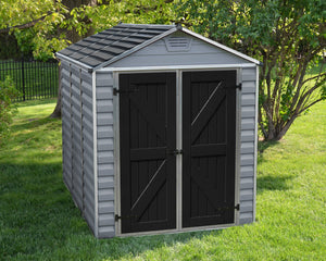Palram Skylight™ 6x8  Storage Shed Grey Walls Black Doors - Awnings Canada