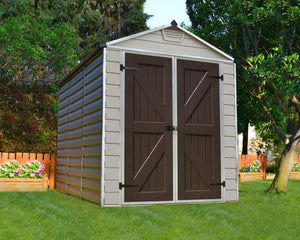 Palram Skylight™ 6x8  Storage Shed Beige Walls Brown Doors - Awnings Canada