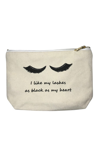 Canvas Makeup Bag - Black Heart