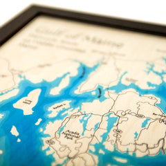 Laser Multicolor Print Map 14 x 18 (Frame Options Available)