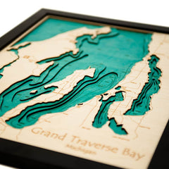 3D Laser Carved Depth Map 16 x 20 in (Frame Options Available)