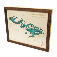 3D Laser Carved Depth Map 14 x 18 in (Frame Options Available)